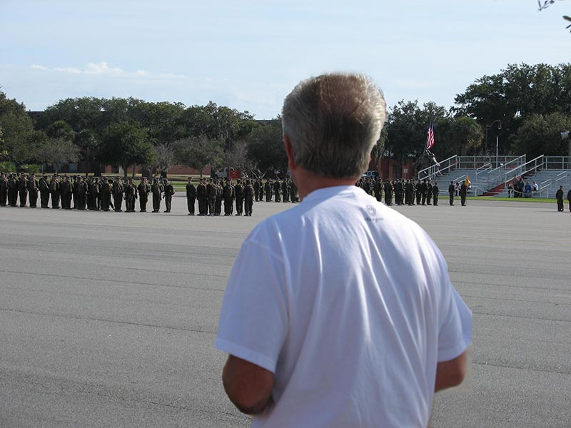 Lee looks at Marines on parade fieldIMG_0013