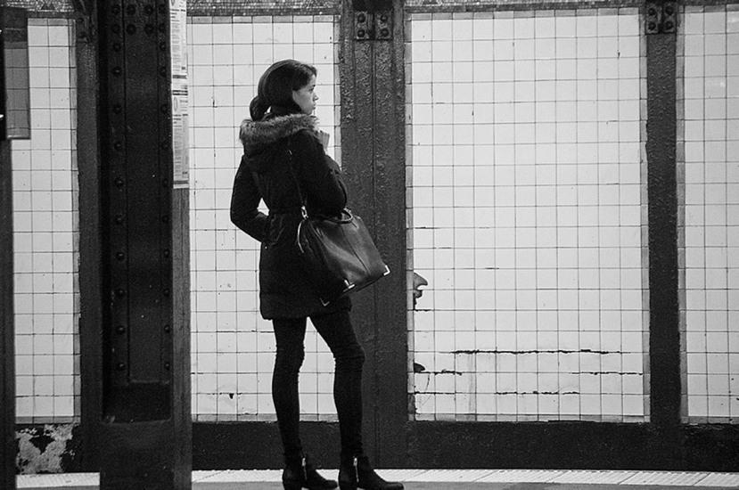 Subway womanDSC_5183bw