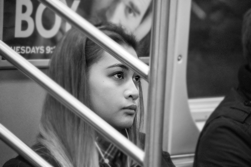 Girl on a subway bw blrDSC_8190