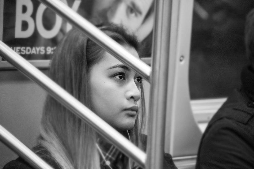 Girl on a subway bw blrDSC_8190
