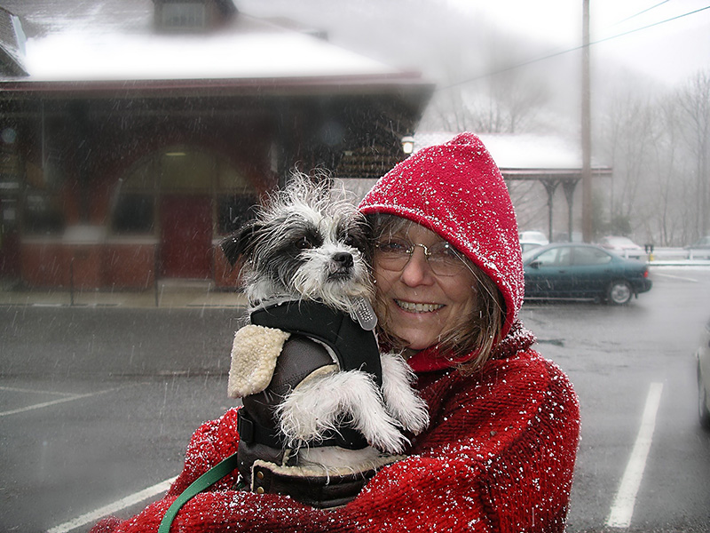 great cher and pooch in snow