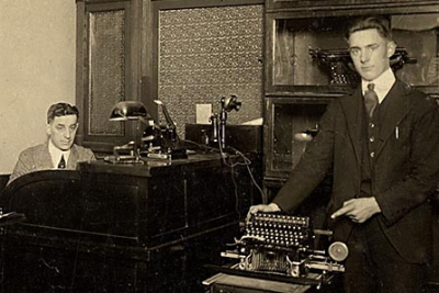 Dad w typewriters 16 years old 1921 crp