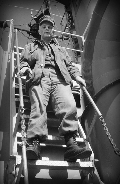 Lee on ship ladder bw.jpg