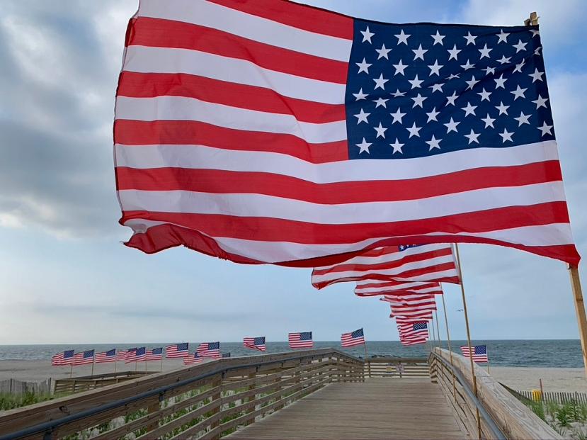 Flags over dunes